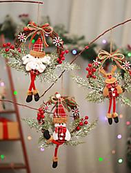 cheap -Christmas Ornament Garland Santa Claus Snowman Cartoon Doll Door Hanging Dead Branches Vine Circle Garland