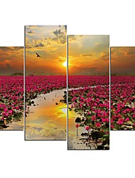 cheap -4 Panels Wall Art Canvas Prints Painting Artwork Picture Flower Painting Home Decoration Decor Rolled Canvas No Frame Unframed Unstretched