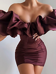 cheap -Sheath / Column Sexy bodycon Homecoming Cocktail Party Dress Off Shoulder Short Sleeve Short / Mini Polyster with Ruffles 2021