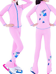 cheap -Figure Skating Jacket with Pants Women's Girls' Ice Skating Jacket Pants / Trousers Pink White Black Fleece Spandex Stretchy Training Practice Competition Skating Wear Thermal Warm Handmade Crystal