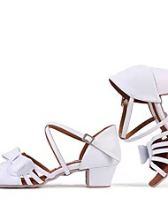 cheap -Girls' Latin Shoes Professional Bows Splicing Thick Heel Open Toe White Buckle Kid's Teenager Party Collections / Performance / Leather