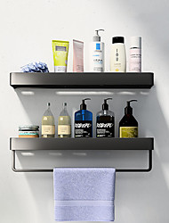 cheap -Black Aluminum Storage Rack Bathroom Storage Rack Space Aluminum Wall Mounted Washstand Towel Rack Storage