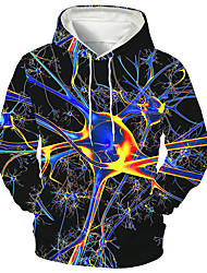 cheap -Men's Unisex Pullover Hoodie Sweatshirt Graphic Prints Cell Print Hooded Daily Sports 3D Print Casual Designer Hoodies Sweatshirts  Long Sleeve Blue Red