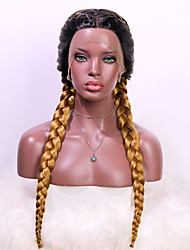 cheap -Synthetic Lace Wig Plaited Style 24 inch Brown With Bangs 4x13 Closure Wig Women's Wig Black Brown