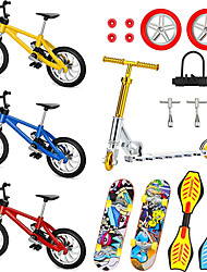 cheap -18 Pieces Mini Finger Toys Set Finger Skateboards Finger Bikes Scooter Tiny Swing Board Fingertip Movement Party Favors Replacement Wheels and Tools
