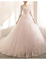cheap -Princess A-Line Wedding Dresses Jewel Neck Court Train Lace Tulle Long Sleeve Romantic Luxurious with Appliques 2021