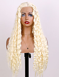 cheap -Synthetic Lace Wig Bouncy Curl Style 24 inch White With Bangs 4x13 Closure Wig Women's Wig White