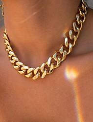 cheap -Chain Necklace Necklace Men's Women's Cuban Link Statement Unique Design Punk European Trendy Cool Gold 12.5+5 cm Necklace Jewelry for Wedding Street Daily Club Festival