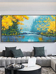 cheap -Original Forest Painting on Canvas Handmade Hand Painted Wall Art Stretched Frame Ready to Hang Large Realistic Lake View Landscape Acrylic Painting Living Room Wall Art Decor