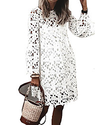 cheap -Women's A Line Dress Knee Length Dress White Long Sleeve Solid Color Ruffle Lace Fall Round Neck Casual Regular Fit 2021 S M L XL XXL