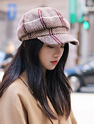 cheap -Artistic / Retro Fashion Wool / Polyester Hats with Buttons / Plaid / Stripe 1pc SchoolWear / Casual Headpiece