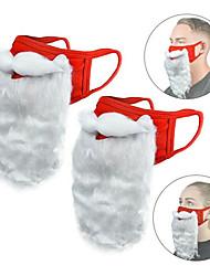 cheap -Adult Funny Cosplay Santa Claus Mask Face Fabric Beard Xmas Plush Gift Shield Props Party Masks Christmas Decor