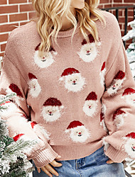 cheap -Women's Pullover Sweater Ugly Sweater Knitted Color Block Stylish Casual Soft Long Sleeve Regular Fit Sweater Cardigans Crew Neck Fall Winter Blushing Pink / Christmas / Jumper