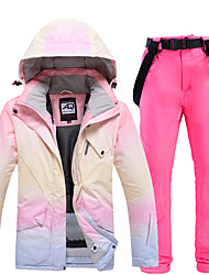 cheap -Women's Ski Jacket with Bib Pants Thermal Warm Waterproof Windproof Breathable Hooded Winter Clothing Suit for Snowboarding Ski Mountain