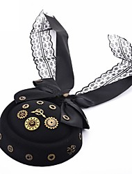cheap -Women's Party Halloween Masquerade Mesh Bow Print Black Hair Clip  Fall Winter Spring Summer Vintage