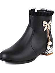 cheap -Girls' Boots Casual Boots Heel Halloween PU Cute Casual / Daily Fashion Boots Big Kids(7years +) Daily Rhinestone Ruffles Pink White Black Fall Winter / Mid-Calf Boots / Rubber