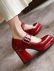cheap -Women's Heels Chunky Heel Square Toe Daily Work Microfiber Solid Colored Red White Black