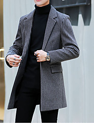 cheap -Men's Coat Street Daily Fall Winter Long Coat Single Breasted Turndown Slim Thermal Warm Breathable Casual Jacket Long Sleeve Striped Pocket Gray Camel Beige