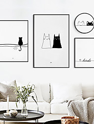 cheap -Wall Art Canvas Prints Painting Artwork Picture Nursery Black White Cat Bird Home Decoration Dcor Rolled Canvas No Frame Unframed Unstretched