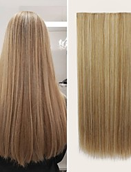 cheap -Synthetic Extentions kinky Straight Natural Straight Synthetic Hair 20 inch Hair Extension Clip In / On Blonde 1 Pack Cosplay Silky Smooth Female All Party Evening Daily Vacation