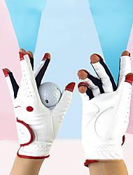 cheap -Golf Glove Golf Half Finger Women's Anti-Slip UV Sun Protection Breathable PU(Polyurethane) PU Outdoor Red / White Pink Silver / Sweat wicking