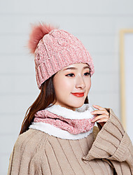 cheap -Winter Beanie Hat Scarf Set Warm Knit Hat Outdoor Thick Fleece Lined Winter Cap Neck Warmer for Men Women camping hiking skiing