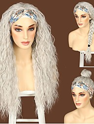 cheap -Wavy Headband Wig Synthetic Black no Glue And no Lace Front Lace Synthetic Wig Suitable For Women Easy to Care For Long Wavy Half Wigs Lead With Magic Tape