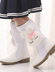 cheap -Girls' Boots Snow Boots Flower Girl Shoes Plus velvet Lace Wedding Snow Boots Big Kids(7years +) Little Kids(4-7ys) Wedding Party Party & Evening Split Joint Pom-pom Pink White Fall Winter / Rubber