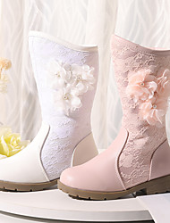 cheap -Girls' Boots Snow Boots Flower Girl Shoes Plus velvet Lace Wedding Snow Boots Big Kids(7years +) Little Kids(4-7ys) Wedding Party Party & Evening Pearl Flower Split Joint Pink White Fall Winter