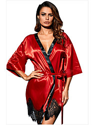 cheap -Women's Women Female Normal Mesh Lace Hole Sexy Chemises & Gowns Robes Sexy Lingerie - Polyester Date Valentine's Day Solid Colored Robes Red Blue Green S M L