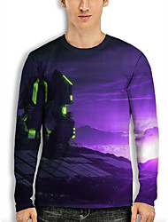 cheap -Men's Tee T shirt 3D Print Graphic Clouds Technology 3D Print Long Sleeve Casual Tops Fashion Designer Cool Comfortable Purple Brown