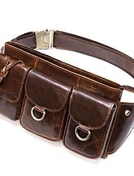 cheap -Men's Bags Nappa Leather Cowhide Sling Shoulder Bag Zipper Daily Bum Bag Messenger Bag Coffee