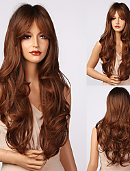 cheap -Synthetic Wig Bouncy Curl Natural Wave With Bangs Wig 24 inch sepia Synthetic Hair Women's Silky Natural Elastic Brown