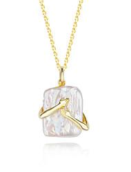 cheap -Pendant Necklace Women's Geometrical White Sterling Silver Simple Luminous Wedding Silver Gold 50 cm Necklace Jewelry 1pc for Wedding Geometric
