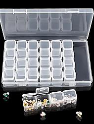 cheap -28 Slots Transparent Plastic Nail Art Storage Box Display Case Organizer Holder For Rhinestone Beads Cosmetic Jewelry Decoration