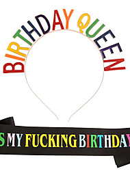 cheap -1 Piece Birthday Girl birthday Headband Shoulder Strap Set Color ITS MY BIRTHDAY Etiquette Belt Set
