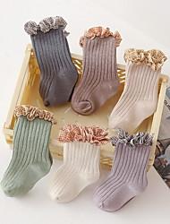 cheap -Toddler Girls' Socks Purple Blushing Pink Gray Plaid Patchwork Cotton Daily Wear Cute 6-12 months / Fall / Winter