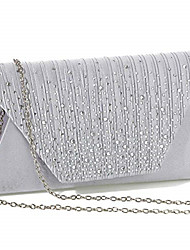 cheap -Women's Bags Satin Evening Bag Buttons Beading Plain Party / Evening Date Evening Bag Almond Silver Black Dark Blue