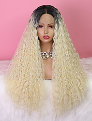 cheap -Synthetic Lace Wig Curly Style 24 inch White Middle Part 4x13 Closure Wig Women's Wig Light Brown Lace Black & White