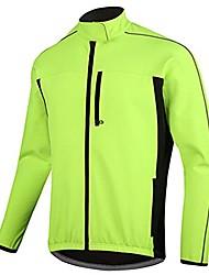cheap -Men's Windbreaker Cycling Jersey Cycling Jacket Winter Fleece Elastane Bike Coat Top Thermal Warm Reflective Waterproof Sports fluorescent green Mountain Bike MTB Road Bike Cycling Clothing Apparel