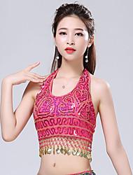 cheap -Belly Dance Top Tassel Solid Splicing Women's Training Performance Sleeveless High Polyester