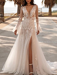 cheap -A-Line Wedding Dresses V Neck Sweep / Brush Train Lace Tulle Long Sleeve Beach Sexy Luxurious with Appliques 2021