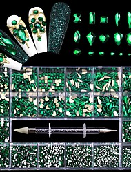 cheap -21 Grid Green Nail Rhinestones for DIY Manicure 2021 Fashion Multi-Size Glass Nails Accessories for Art Decoration