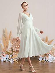 cheap -A-Line Wedding Dresses V Neck Tea Length Chiffon Long Sleeve Simple with Pleats 2021
