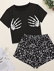 cheap -Women's Pajamas Sets Home Party Halloween Bed Print Skeleton Polyster Funny Soft Sweet T shirt Spring Summer Crew Neck Short Sleeve