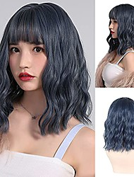 cheap -wigs for women, grey blue wavy wig with air bangs, loose wave curly wigs synthetic short shoulder length wig, heat resistant fiber cosplay wigs for girls costume wig + 2 wig caps (14 inches)
