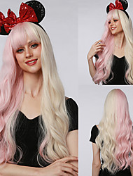 cheap -Synthetic Wig Long Natural Wavy Half Blonde Half Light Pink Hair Wigs with Bangs for Women Cosplay Party lolita