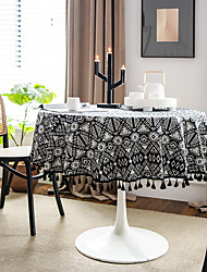 cheap -Table Cloth Cotton Dust-Proof Contemporary Geometric Tabel cover Table decorations for Daily Wear Round 140 cm Black / White 1 pcs