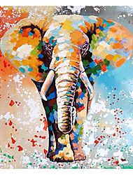 cheap -Oil Painting Handmade Hand Painted Wall Art Square Colored Elephant Abstract Bedroom Decoration Paintings Home Decoration Decor Stretched Frame Ready to Hang