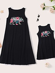 cheap -Dresses Mommy and Me Cotton Cartoon Bear Daily Print Black Sleeveless Knee-length Tank Dress Cute Matching Outfits / Summer / Long